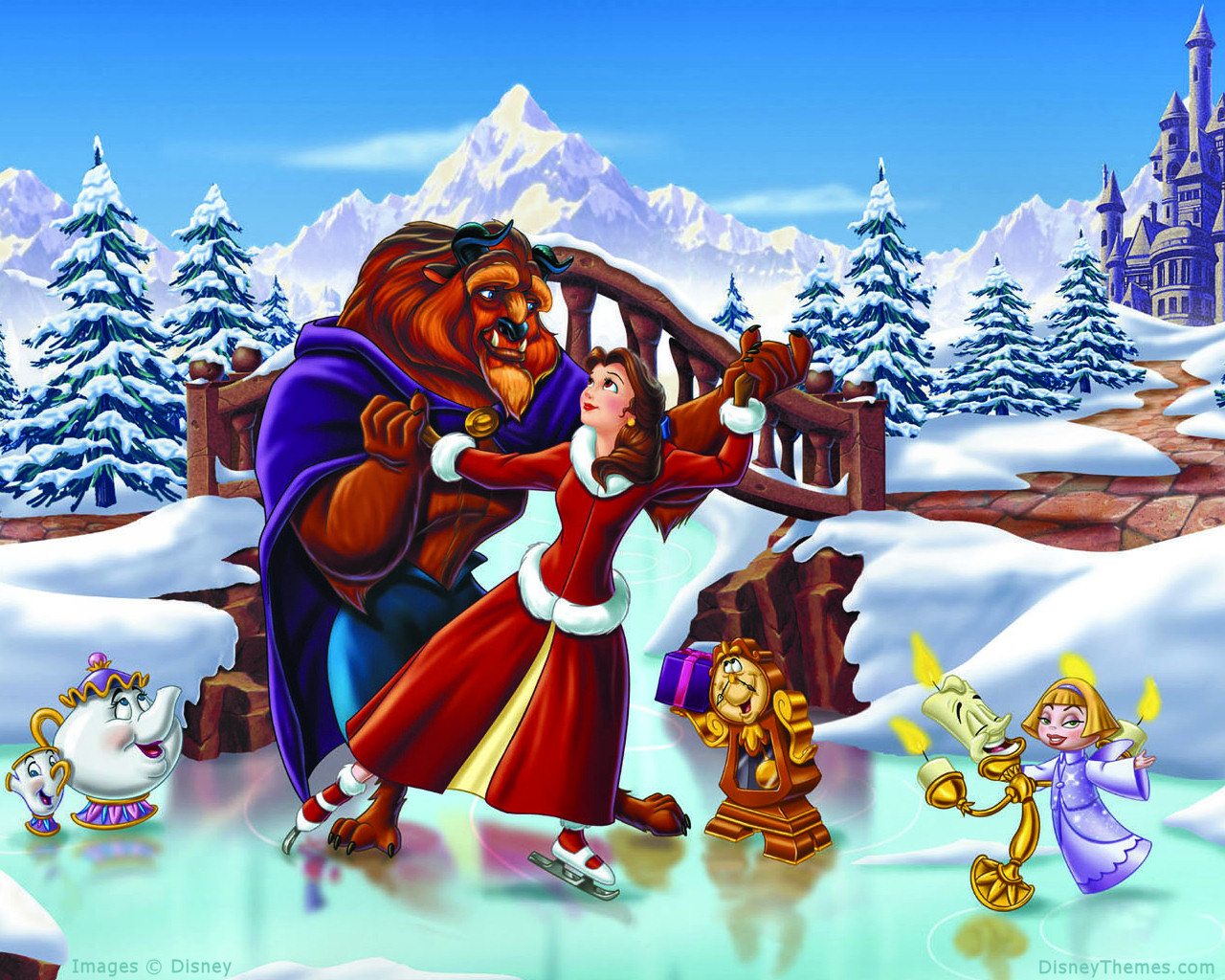 Beauty and the Beast Christmas Wallpaper