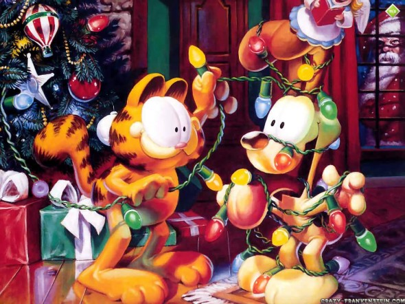 wallpaper garfield. Garfield Christmas Wallpaper