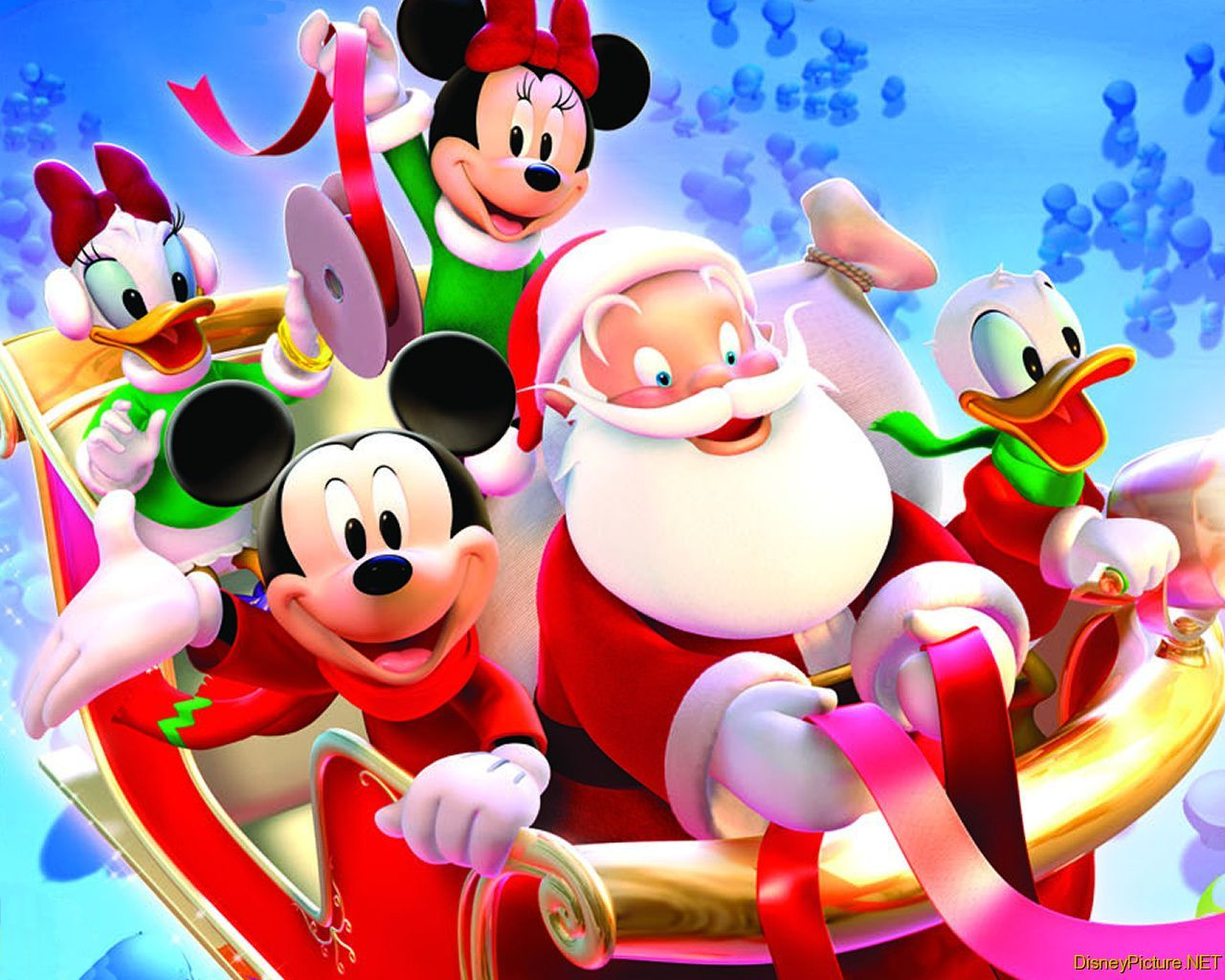 Disney Mickey Mouse and Santa Christmas Wallpaper