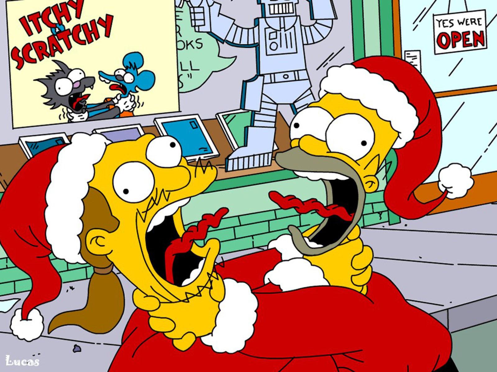 Homer and Comic Book Guy Christmas Wallpaper