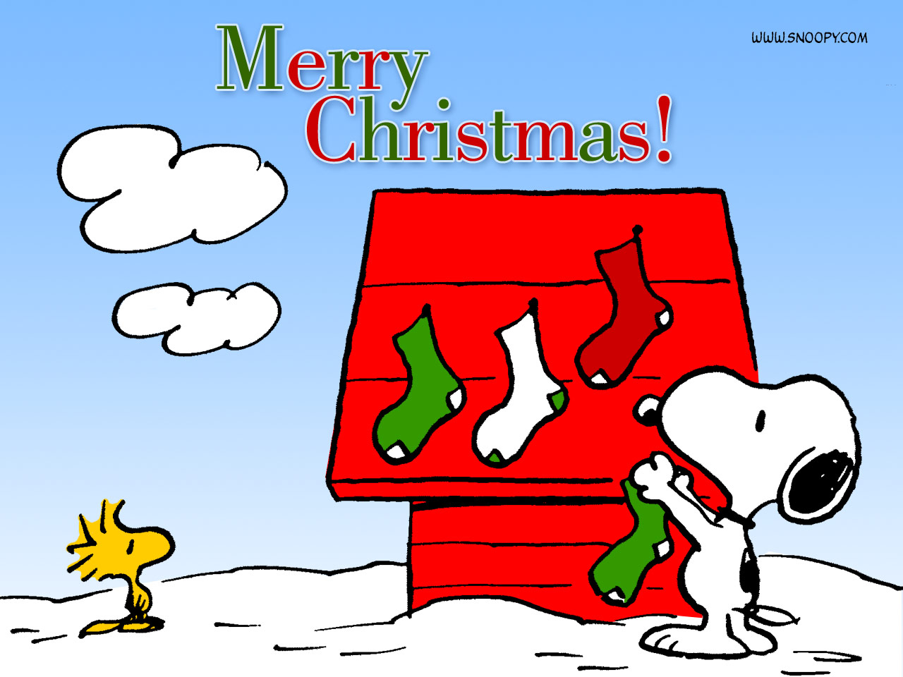 Snoopy Hanging Stockings Christmas Cartoon Wallpaper