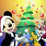 Mickey and Gang Decorating a Tree Christmas Wallpaper
