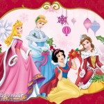 Disney Princesses Decorating Christmas Wallpaper