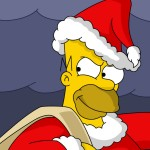 Homer as Santa Claus Christmas Wallpaper