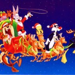 Sylvester and Company driving Santa's Sleigh Wallpaper