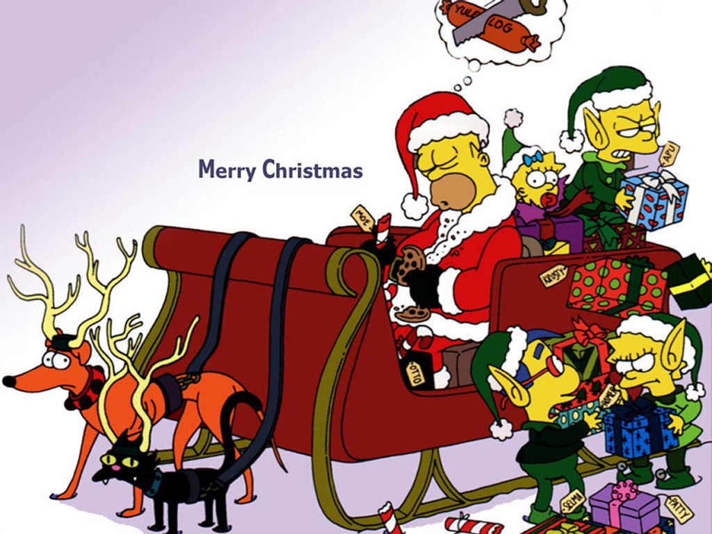 The Simpsons in a Sleigh Christmas Wallpaper