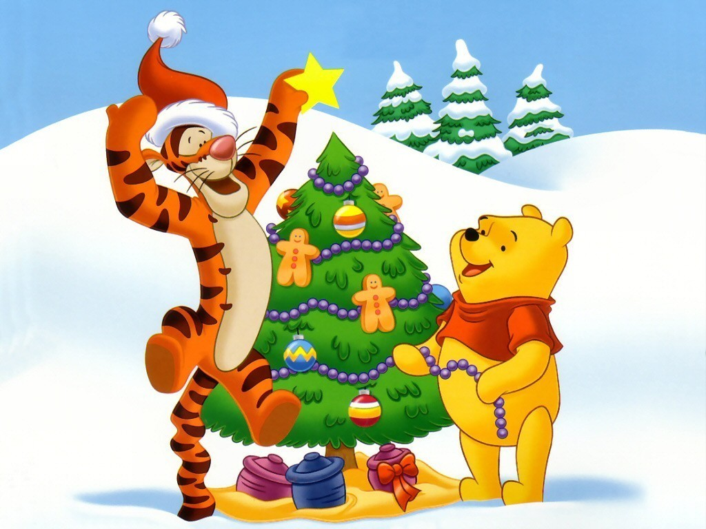 winnie the pooh and tigger decorating a tree christmas wallpaper christmas cartoons. Black Bedroom Furniture Sets. Home Design Ideas