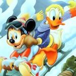 Mickey and Donald Sledding Christmas Wallpaper