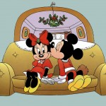 Mickey kissing Minnie under Mistletoe Christmas Wallpaper