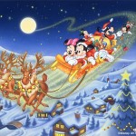 Mickey Mouse in Santa's Sleigh Christmas Wallpaper