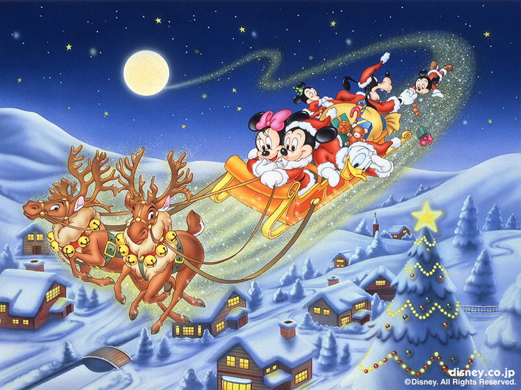 mickey mouse in santa u0027s sleigh christmas wallpaper christmas