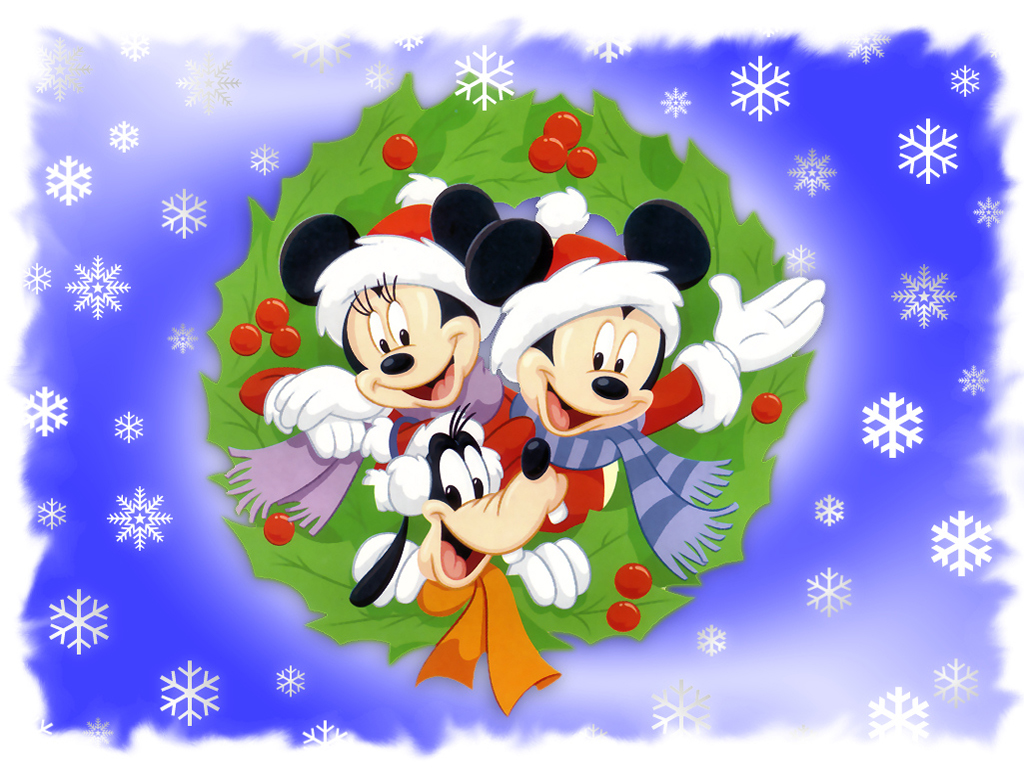mickey minnie and pluto wishing merry christmas wallpaper