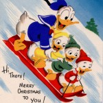 Donald Duck and Family Sledding Christmas Wallpaper