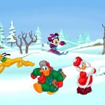 Donald and Daisy in the Snow Christmas Wallpaper
