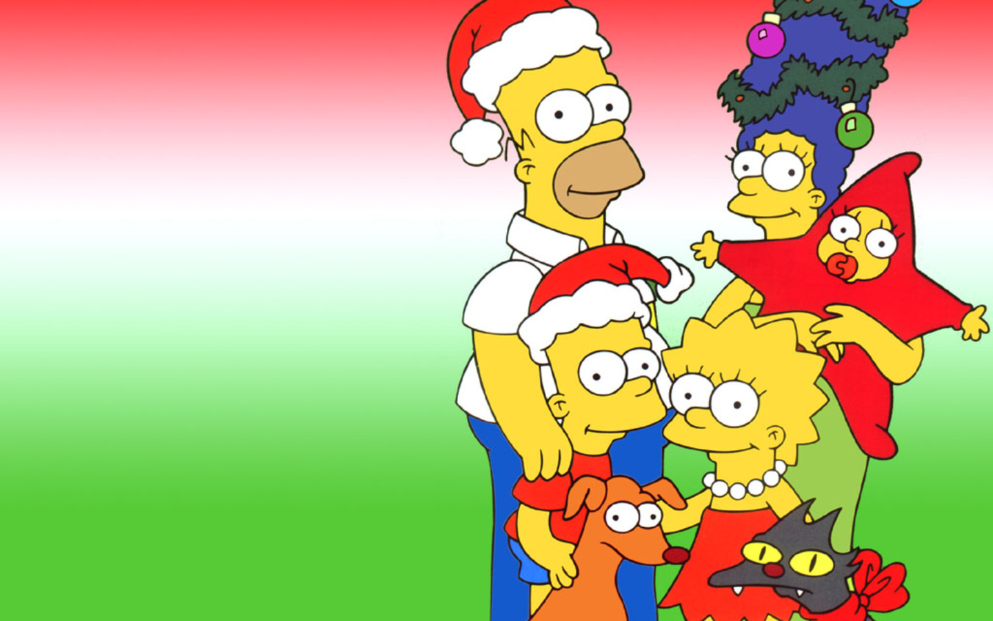 The Simpsons Posing for Christmas Wallpaper