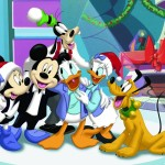 Mickey Mouse and Gang Carolling Christmas Wallpaper
