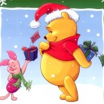 Piglet Giving Presents Christmas Wallpaper