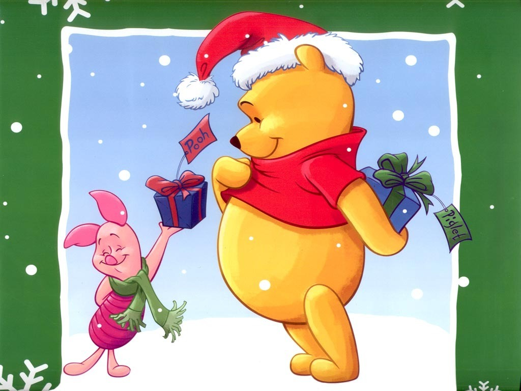 Piglet Giving Presents Christmas Wallpaper : Christmas Cartoons