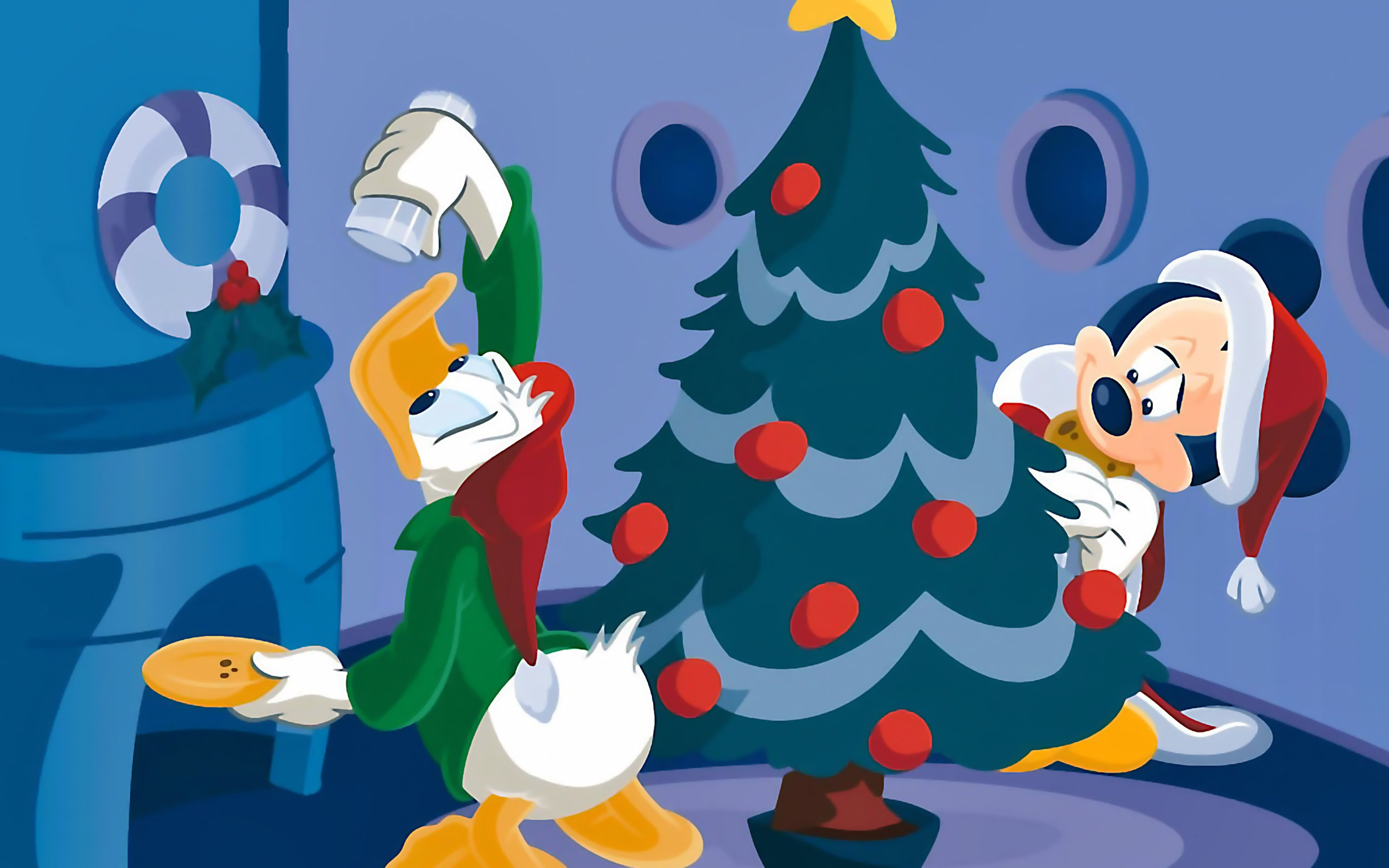 disney characters decorating a tree christmas wallpaper