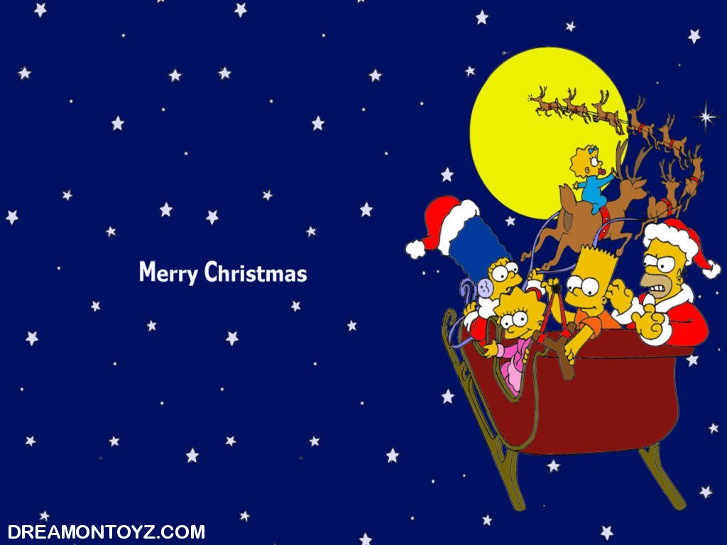 The Simpsons Riding in a Sleigh Christmas Wallpaper