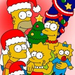 The Simpsons at Christmas Wallpaper