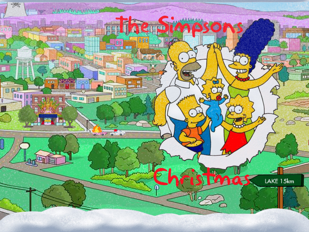 The Simpsons and Springfield Christmas Wallpaper