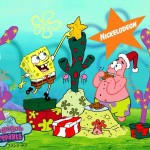 Spongebob Squarepants and Patrick Celebrate Christmas Wallpaper