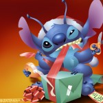 Stitch and Presents Christmas Wallpaper