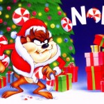 Taz with the tree and presents wishes you Noel Wallpaper