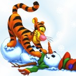 Tigger and a Snowman Christmas Wallpaper