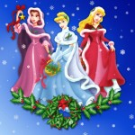 Disney Princesses Posing for Christmas Wallpaper
