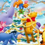 Winnie the Pooh Decorating Christmas Tree Wallpaper