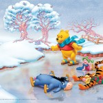 Winnie the Pooh Ice Skating Christmas Wallpaper