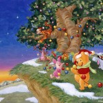Winnie the Pooh Decorating 100 Acre Wood Christmas Wallpaper