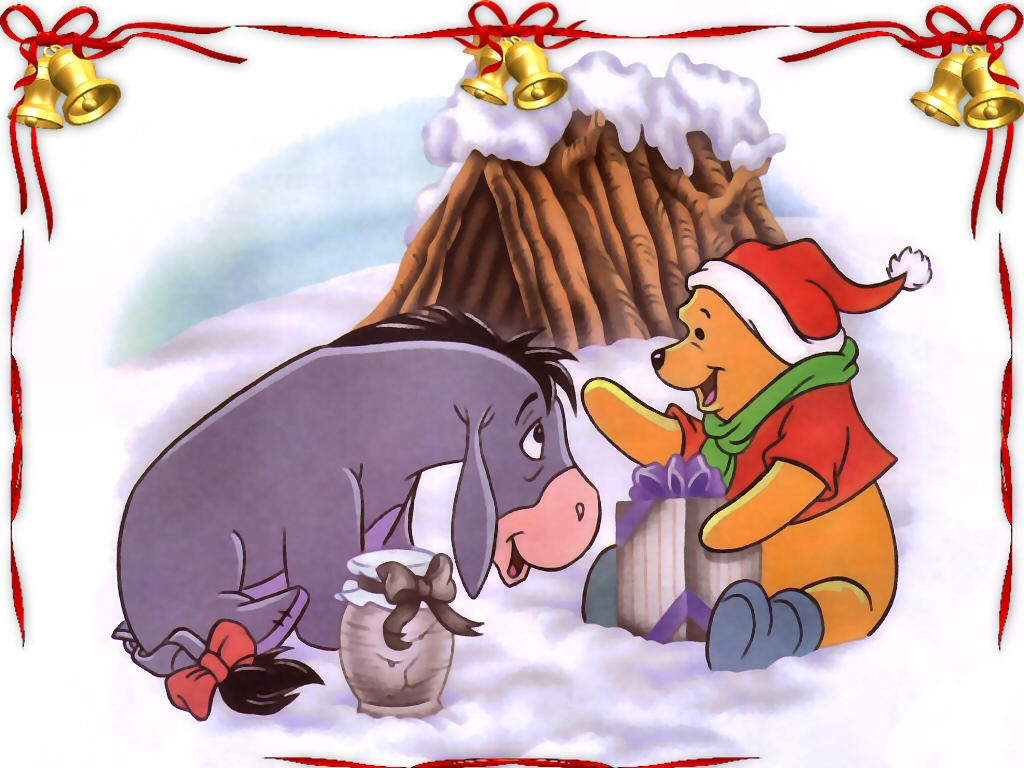 winnie the pooh and eeyore at christmas wallpaper christmas cartoons