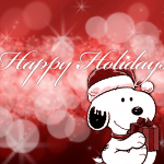 Snoopy with a Present Christmas Cartoon Wallpaper