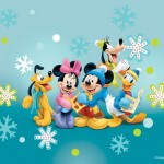 Mickey Mouse and Gang Christmas Wallpaper