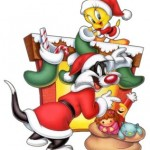 Tweety and Sylvester Celebrate Christmas Wallpaper