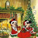 Mickey and Minnie Celebrating Christmas Wallpaper