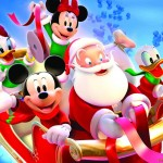 Mickey and the Gang with Santa Christmas Wallpaper