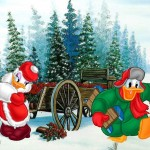 Donald and Daisy Getting a Tree Christmas Wallpaper