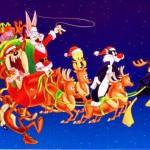 Sylvester and Company driving Santa's Sleigh Wallpaper