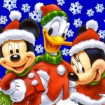 Mickey, Minnie and Donald in the Snow Christmas Wallpaper