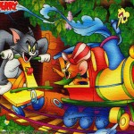 Tom and Jerry on a Christmas Train Wallpaper