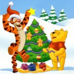 Winnie the Pooh and Tigger Decorating a Tree Christmas Wallpaper