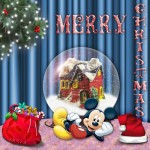 Mickey Mouse and a Snow Globe Christmas Wallpaper