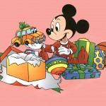 Mickey Mouse Opening Presents Christmas Wallpaper