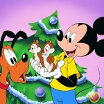 Mickey with Chip and Dale Christmas Wallpaper
