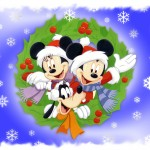 Mickey, Minnie, and Pluto Wishing Merry Christmas Wallpaper