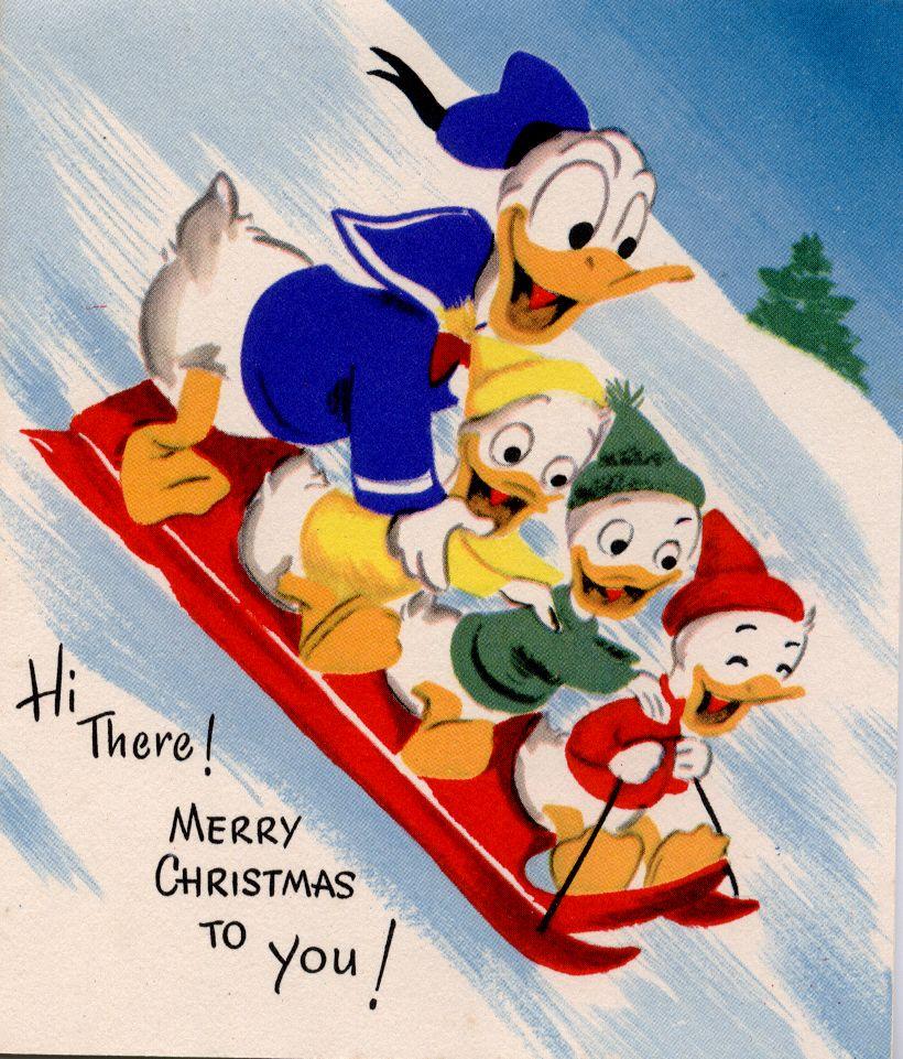 Donald Duck And Family Sledding Christmas Wallpaper